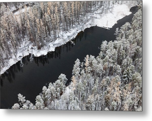 Aerial View Of Forest River In Cold Metal Print by Vladimir Melnikov