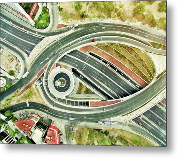 Aerial View Of Freeways In Mexico Metal Print by Orbon Alija