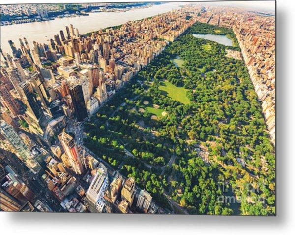 Aerial View Of Manhattan New York Metal Print
