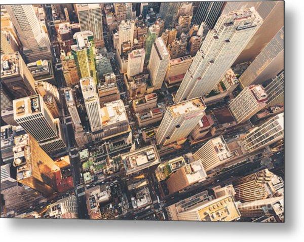 Aerial View Of Midtown Manhattan At Metal Print by Tierneymj