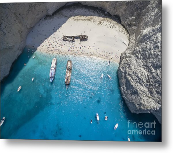 Aerial View Of Navagio Shipwreck Beach Metal Print