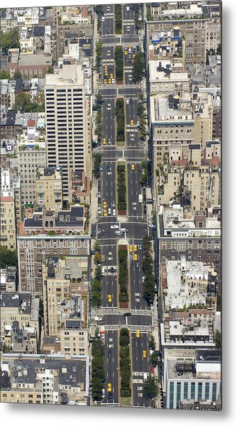 Aerial View Of Park Ave. In Manhattan Metal Print