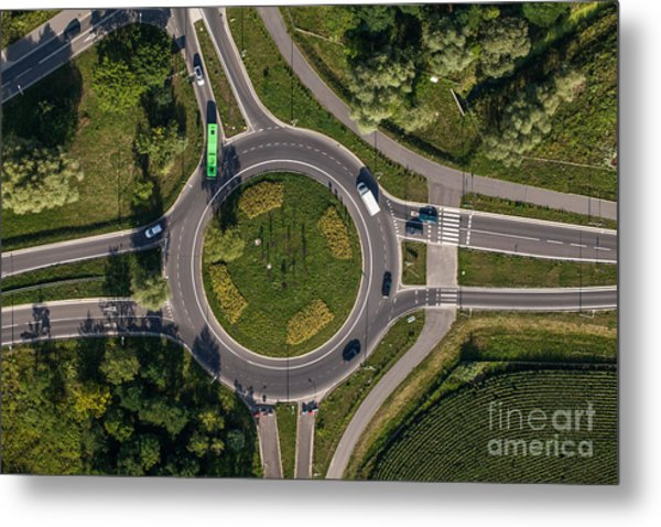 Aerial View Of Roundabout In Wroclaw Metal Print