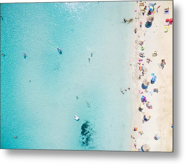 Aerial View Of Sandy Beach With Metal Print