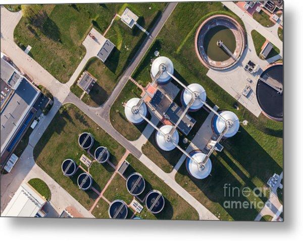 Aerial View Of Sewage Treatment Plant Metal Print