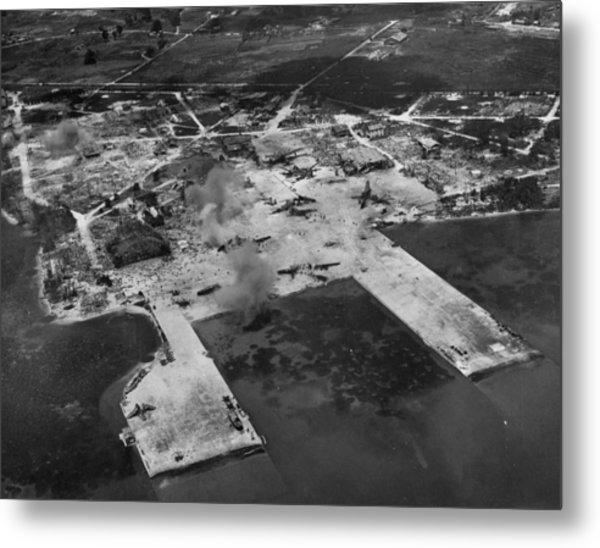Aerial View Of Smoke From Us Artillery Metal Print by W. Eugene Smith