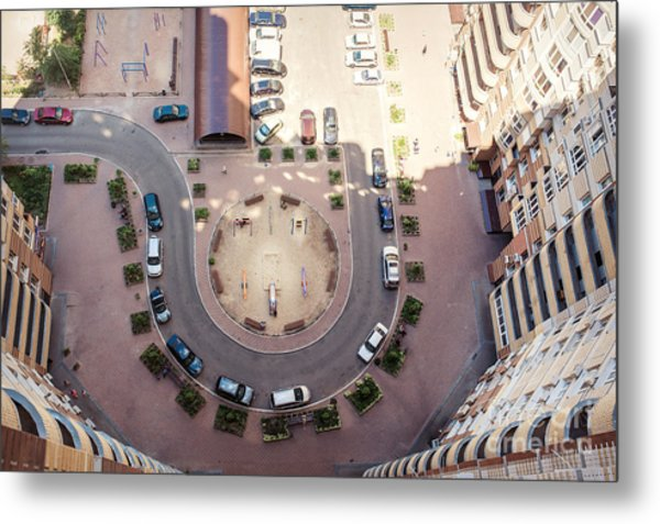 Aerial View Of The Lot Of Cars Near Metal Print