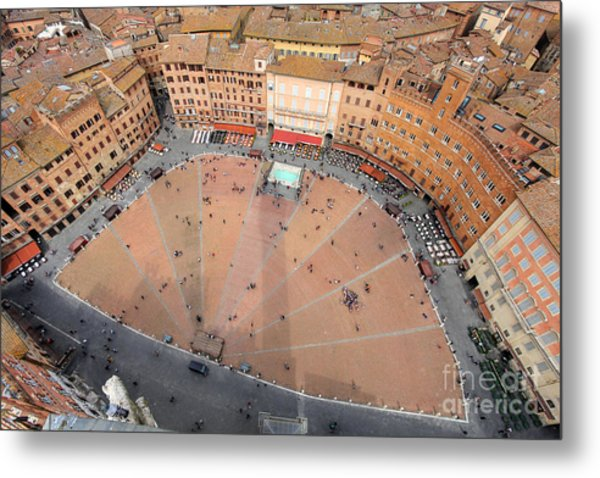 Aerial View Of The Piazza Del Campo Metal Print