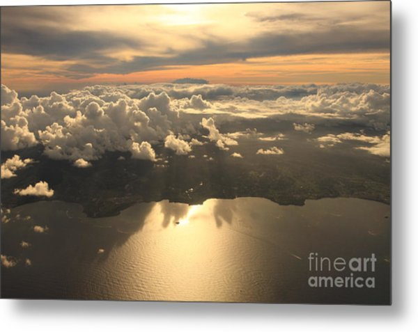 Aerial View Sunset Over Antigua In The Metal Print