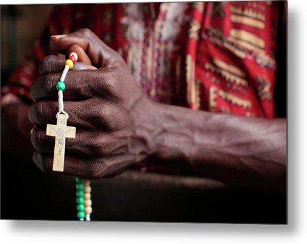 African Man Praying The Rosary Metal Print