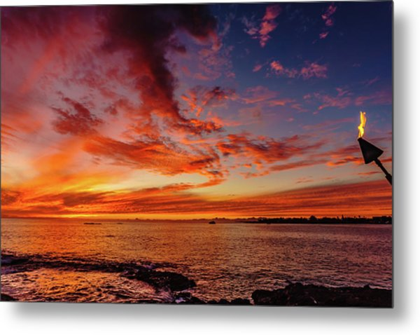 After Sunset Colors At Kailua Bay Metal Print