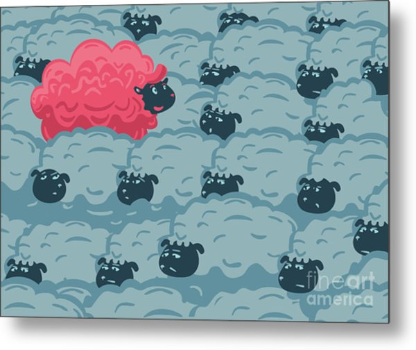 Against The Crowd. One Pink Sheep In Metal Print