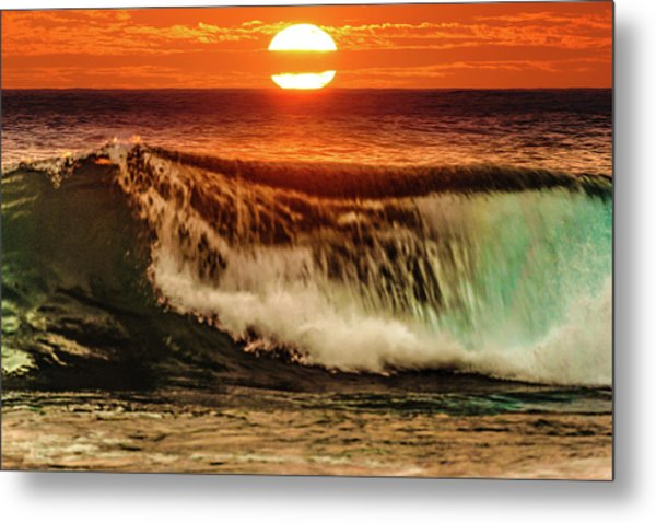 Ahh.. The Sunset Wave Metal Print