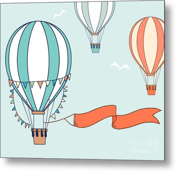 Air Balloons With Party Ribbon, Flags Metal Print