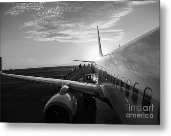 Aircraft In Airport At Sunset Metal Print