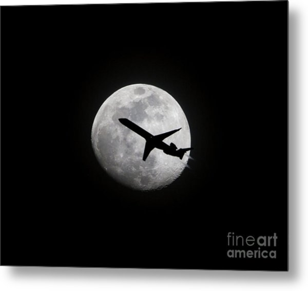Airliner Passing In Front Of A Full Moon Metal Print