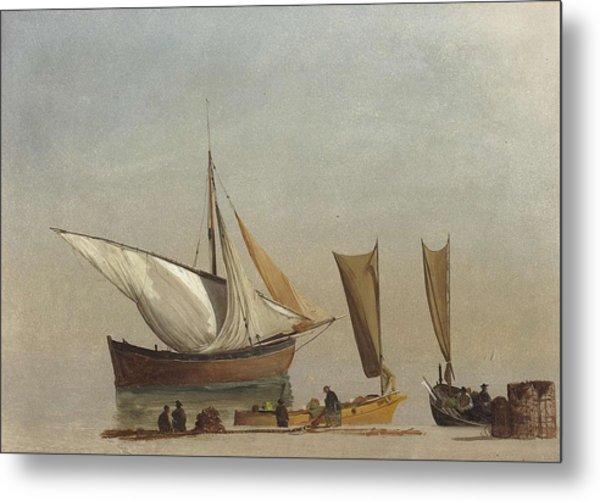 Albert_bierstadt_-_fishing_boats Metal Print