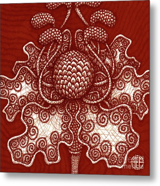 Metal Print featuring the painting Alien Bloom 18 by Amy E Fraser