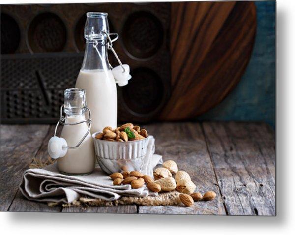 Almond Nut Vegan Milk Non Dairy In Metal Print