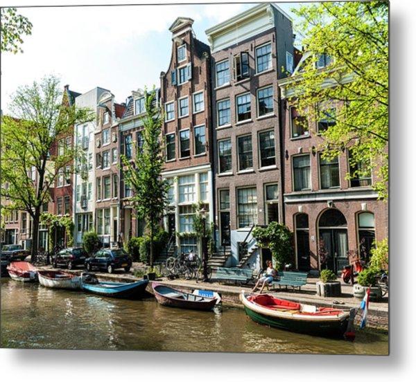 Along An Amsterdam Canal Metal Print