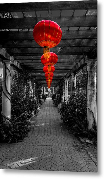 Along The Red Path Metal Print by Christine Buckley