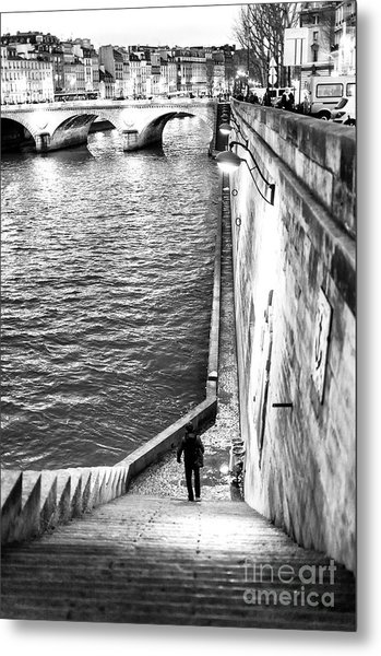 Along The Seine At Night Paris Metal Print