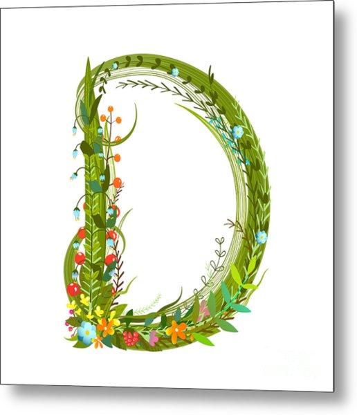 Alphabet Decorative Floral Letter D Metal Print
