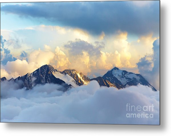 Alpine Landscape With Peaks Covered By Metal Print
