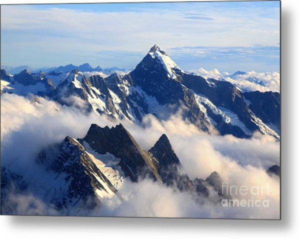 Alps Alpine Landscape Of Mountain Cook Metal Print