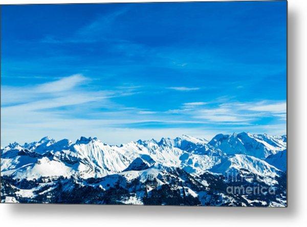 Alps Mountain Landscape. Winter Metal Print