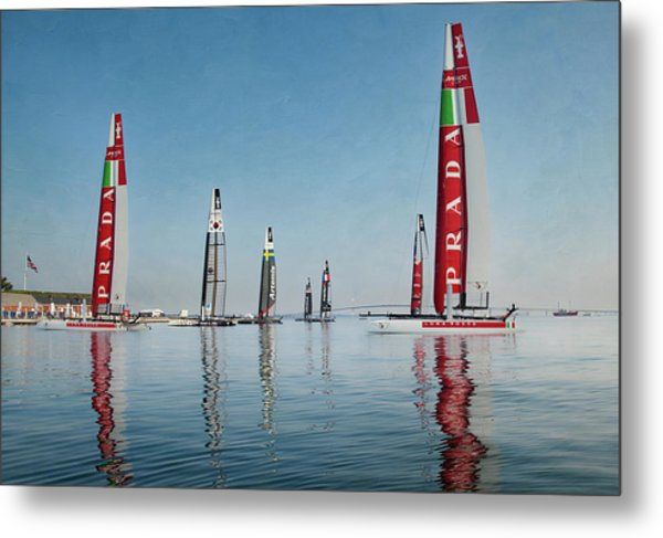 America Cup Boat Reflections Metal Print