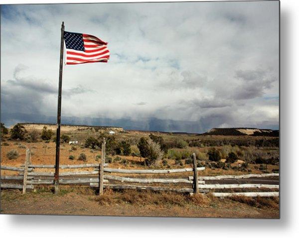 American Flag Landscape Metal Print
