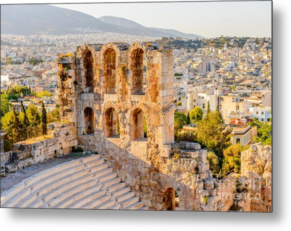 Amphitheater Of The Acropolis Of Metal Print