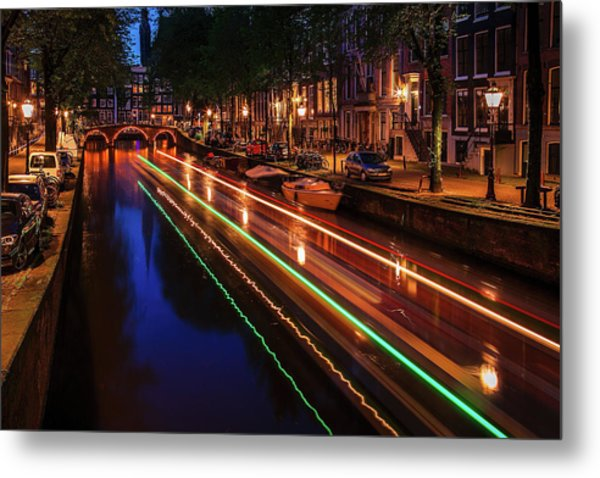 Amsterdam Twilight Traffic Metal Print
