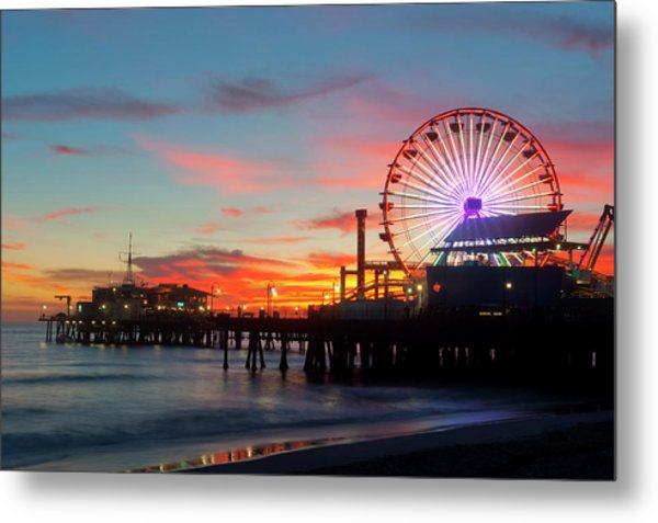 Amusement Park On Waterfront At Night Metal Print