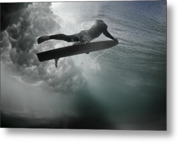 An Alaia Surfer Rises To The Surface Metal Print