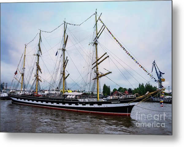 An Exit Sailboat Krusenstern On Parade Metal Print
