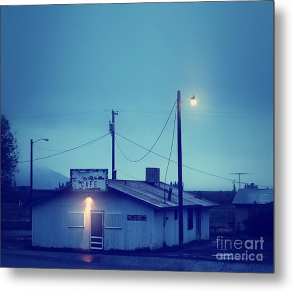 An Old Run Down Cafe During A Storm Metal Print