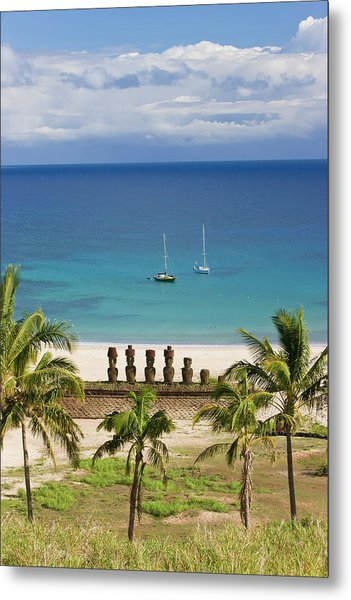 Anakena Beach, Yachts Moored In Front Metal Print by Gavin Hellier / Robertharding