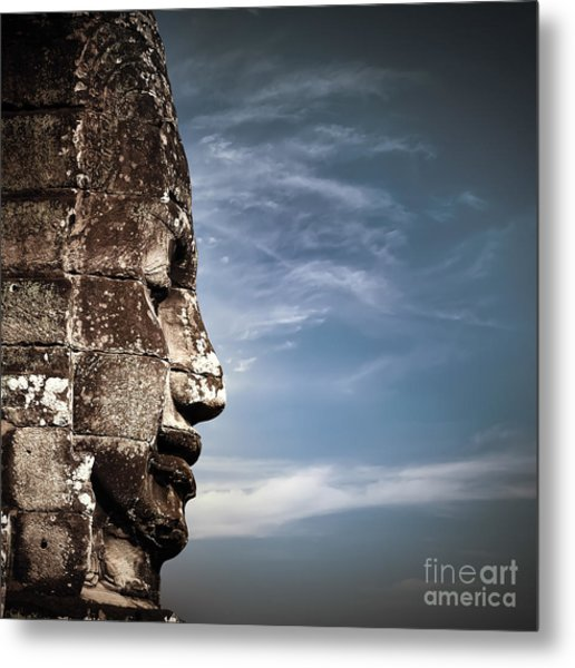 Ancient Khmer Architecture. Huge Carved Metal Print