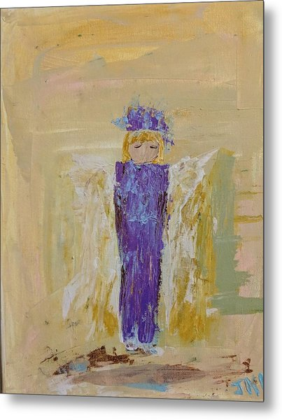 Angel Girl With A Unicorn Metal Print