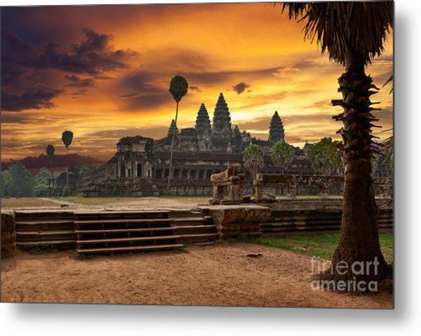 Angkor Wat At Sunset Metal Print