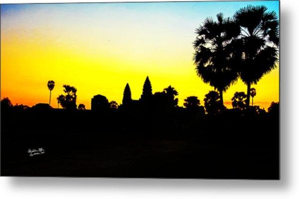 Angkor Wat Silhouette Metal Print