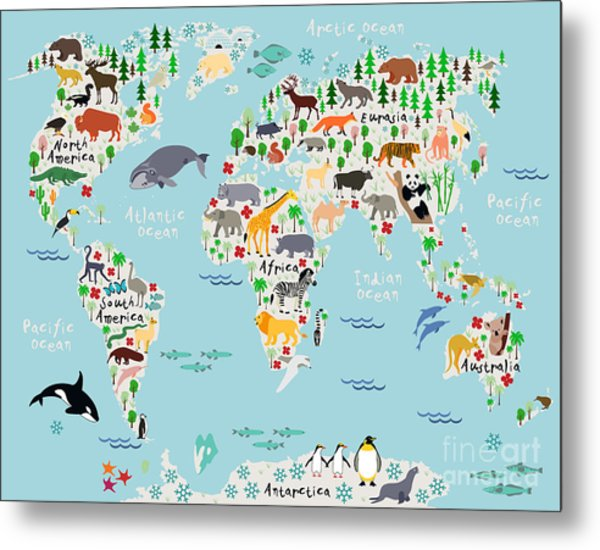Animal Map Of The World For Children Metal Print