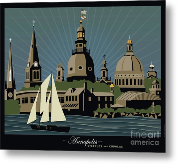 Annapolis Steeples And Cupolas Serenity With Border Metal Print