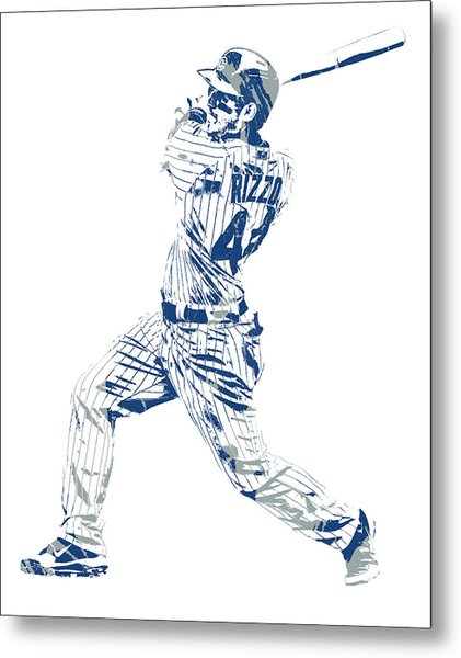 Anthony Rizzo Chicago Cubs Pixel Art 100 Metal Print