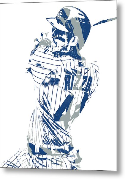 Anthony Rizzo Chicago Cubs Pixel Art 101 Metal Print