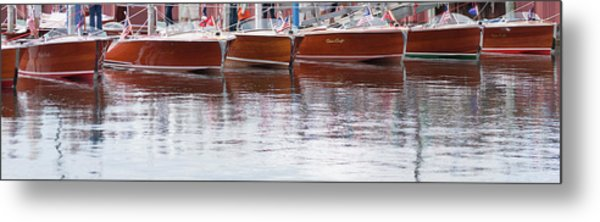 Antique Classic Wooden Boats In A Row Panorama 81112p Metal Print