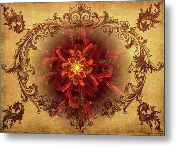 Antique Foral Filigree In Crimson And Gold Metal Print