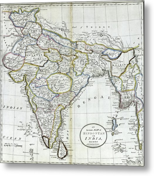 Antique Map Of India   Metal Print